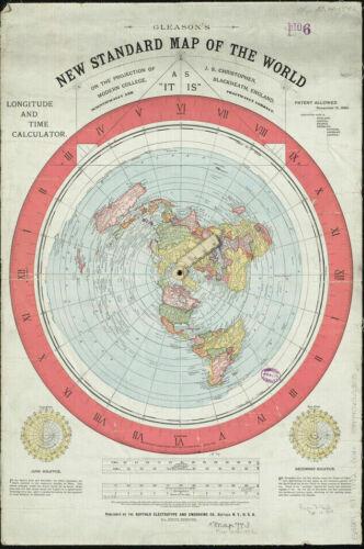 Vintage 1892 Flat Earth Map Movie World Map Modern Poster Art Fabric Decor X-340