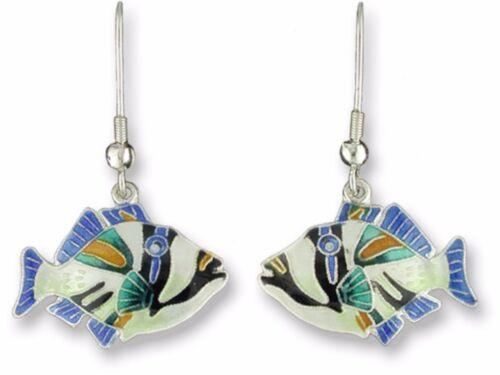 Zarah Triggerfish Dangle Earrings Handmade 925 Sterling Silver Enamel Gift Box