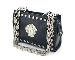 150cc000d322 Image is loading GIANNI-VERSACE-Medusa-Shoulder-Bag-Silver-Chain-Black-