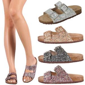 Womens-Glitter-Open-Toe-Double-Buckle-Strap-Slide-Cork-Flat-Platform-Sandal-Shoe