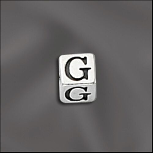 3.5mm x 3.5mm with 2mm Hole Letter G Sterling Silver Alphabet Bead