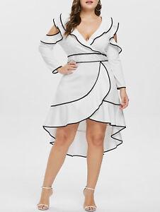 9dd6ec15cd Womens Plus Size V Neck Cold Shoulder Cut Out Dress High Low Hem ...