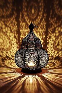 Orientalische-Marokkanische-Laterne-Windlicht-Garten-Metall-Vintage-Tischlaterne