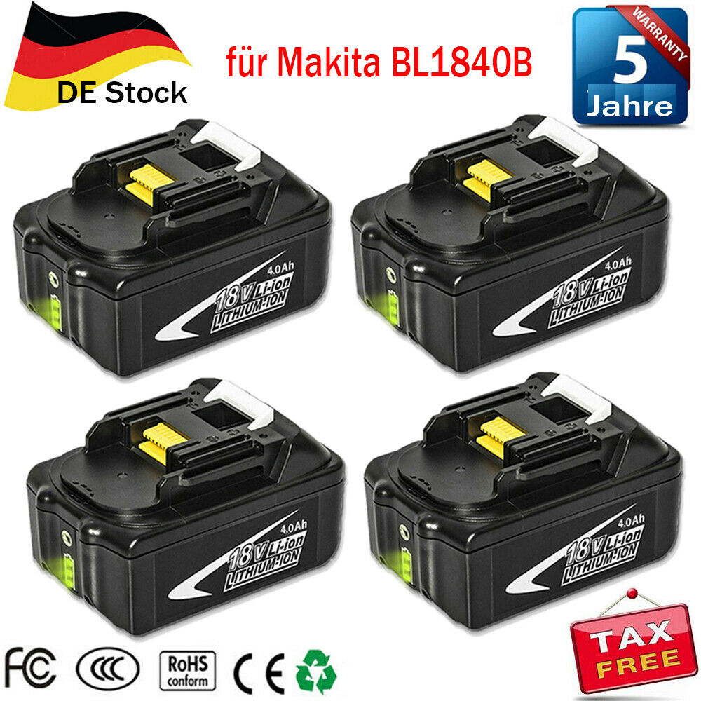 4XFür Makita BL1850B 18V LXT Li-ion Ersatzakku 4,0Ah BL1840 BL1850 BL1860 BL1830
