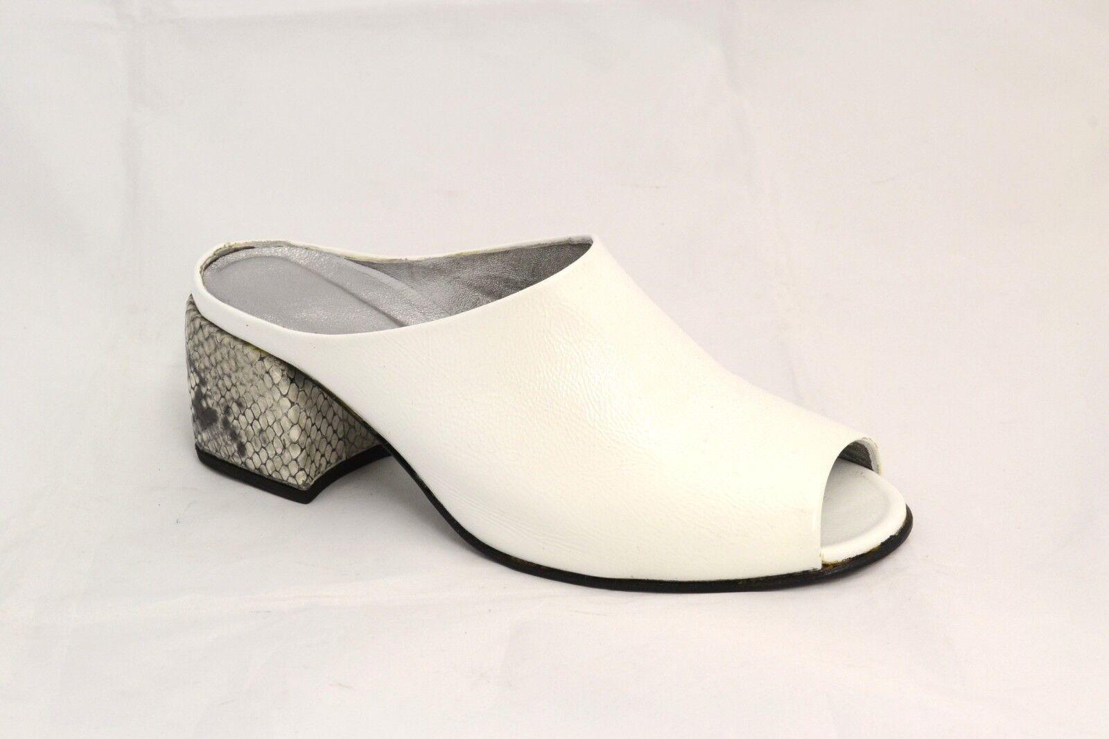 zapatos SABOT mujer SPUNTATO PELLE blanco LUCIDA blanco PELLE 100% FATTO IN ITALIA 8275f3