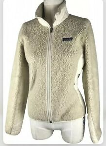 Patagonia-Synchilla-Beige-X-Small-Fleece-Jacket-Fuzzy-Retro-X-Deep-Pile-Sweater