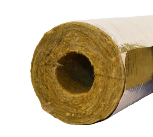 22mm Bore 25mm Thick Rockwool Rocklap 1m Foil Backed Pipe Insulation Lagging