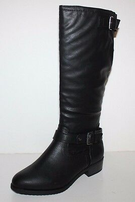 GH Bass NIB Womens 7 8 8.5 W Wide Alexandra Black Faux Leather Riding Boots