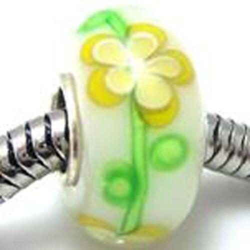Handmade Lampwork Silver Core Yellow Daisy Flower Glass Bead Charm DIY Bracelet