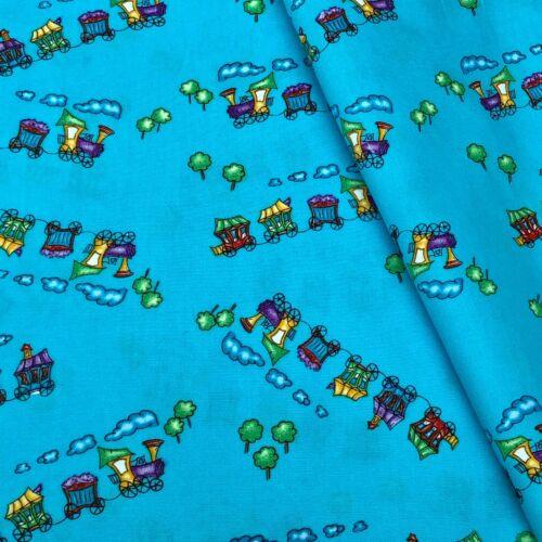 Tren de vapor Diversión Niños Azul 100/% Puro Algodón Vestido De Tela Artesanía Patchwork Banderines