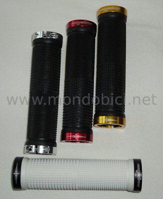 coppia manopole bicolor doppio collarino nero rosso MV-TEK bici mtb