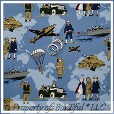 BonEful Fabric FQ Cotton Quilt Blue Navy Ship Airplane Military Camo Veteran USA