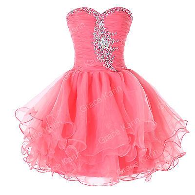 Strapless Voile Sparkle Cocktail Evening Prom Short Dress 6 8 10 12 14 16 18 20