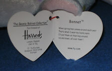TY HARRODS TAGGED BONNET the EASTER BUNNY BEAR BEANIE BABY - MINT with MINT TAGS