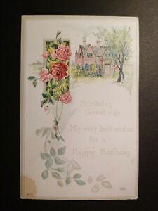 MATT-039-S-STAMPS-Vintage-Embossed-Floral-Roses-Cottage-Birthday-Greetings-Postcard