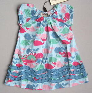 NEW-Coco-Bonbons-Girls-12-Mo-Blue-Pink-Green-Whale-Print-Ruffle-Dress