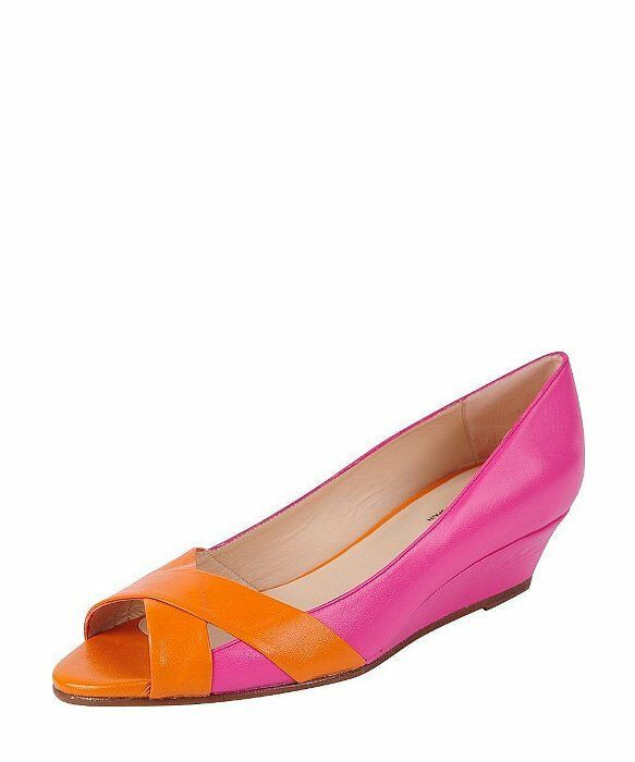 Jon Josef Damens´s Copa Fuchsia and Orange Leder PeepToe Wedge