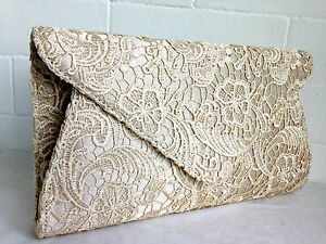 Image Is Loading New Beige Lace Evening Clutch Bag Envelope