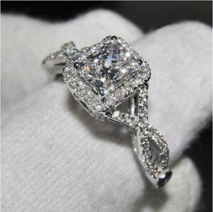 image is loading classic princess cut white topaz diamonique 925 silver - Diamonique Wedding Rings