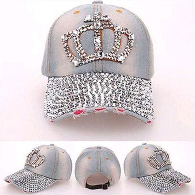 Fashion Women Denim Jean Rhinestone Sparkle Stud Bling Crown Baseball Cap  Hat AQ 5f9c4b74fb4