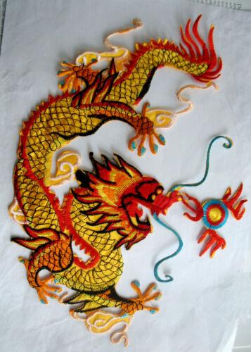 XXL écusson Dragon Back Patch Golden Dragon dos écusson