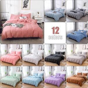 Conjuntos-De-Ropa-De-Cama-Color-solido-ligero-Edredon-Duvet-cover-set-Rey-Queen-Doble