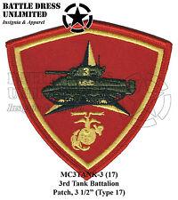 3rd Tank Battalion Patch (Marines USMC Marine Corps Armor Bn M4A3 Sherman)