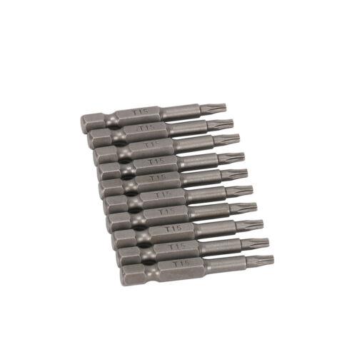 """T15  2/"""" Power Bit New 10Pcs Star Torx Bits Screwdrivers 1//4/"""" Hex Steel T10"""