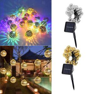 50 LED boule solaire chaîne lumières fête fée Patio extérieur jardin Hall