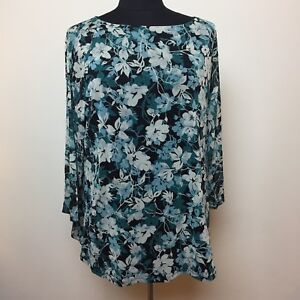 Charter-Club-Womens-Top-Size-1X-Multi-Color-Floral-Blue-Background-3-4-Sleeve