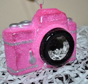 NEW-CAMERA-PHOTOGRAPH-Christmas-Tree-Glass-Blown-Ornament-PINK-Silver-GLITTER