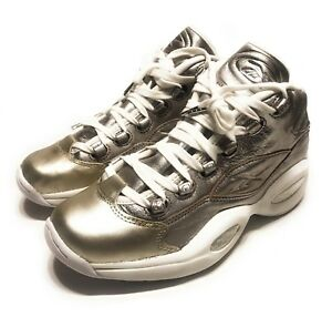 Reebok Mens Question Mid Celebrate Hall of Fame Shoe Metallic Silver ... a476d799a