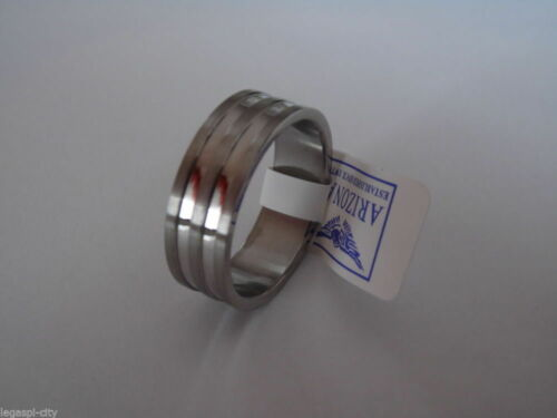 Precioso masivas anillo de acero inoxidable con caja de regalo de arizona tamaño 16 mm nuevo