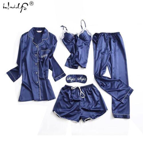 Women Silk Satin Pajamas Set 5Pcs Sleepwear Babydoll Nightwear Lingerie Homewear