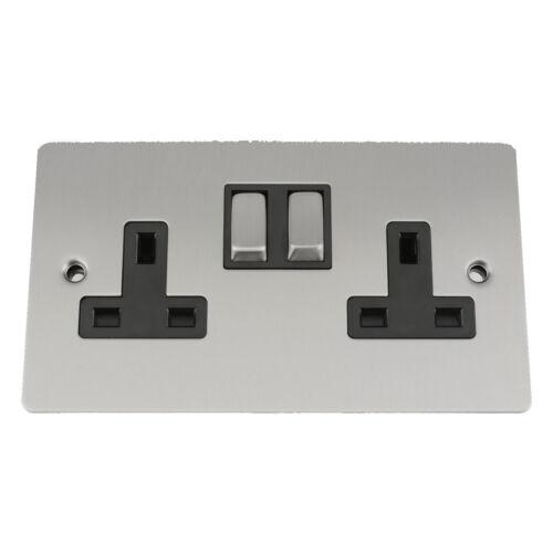 13 Amp Wall Plug Socket Single 2 Gang in Brushed Satin Matt Chrome Flat Style