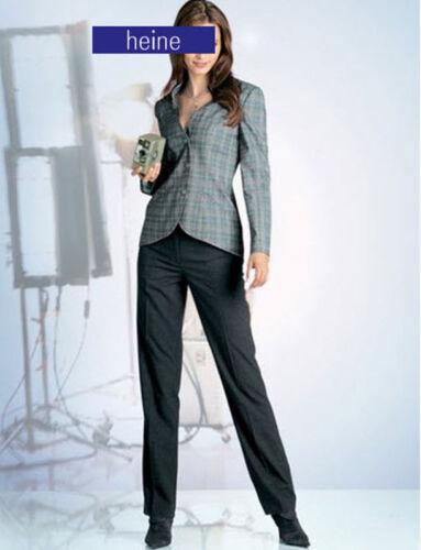 NUOVO Elegante Business Stile Sottile Pantaloni con staffa a pieghe taglia 38 42 Heine 198654