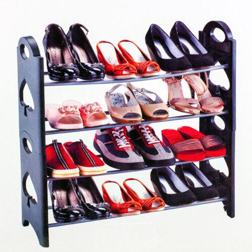 4 Tier Stackable  Shoe Rack Adjustable Organizer Shelf Tower Closet Space Saver