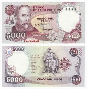 COLOMBIA 5000 5,000 PESOS 1994 P 440 AUNC ABOUT UNC