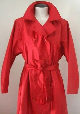 CLASSIC TRENCH COAT RED VNTG CLASSIC DOUBLE BREAST STYLE TIE WAIST SZ M