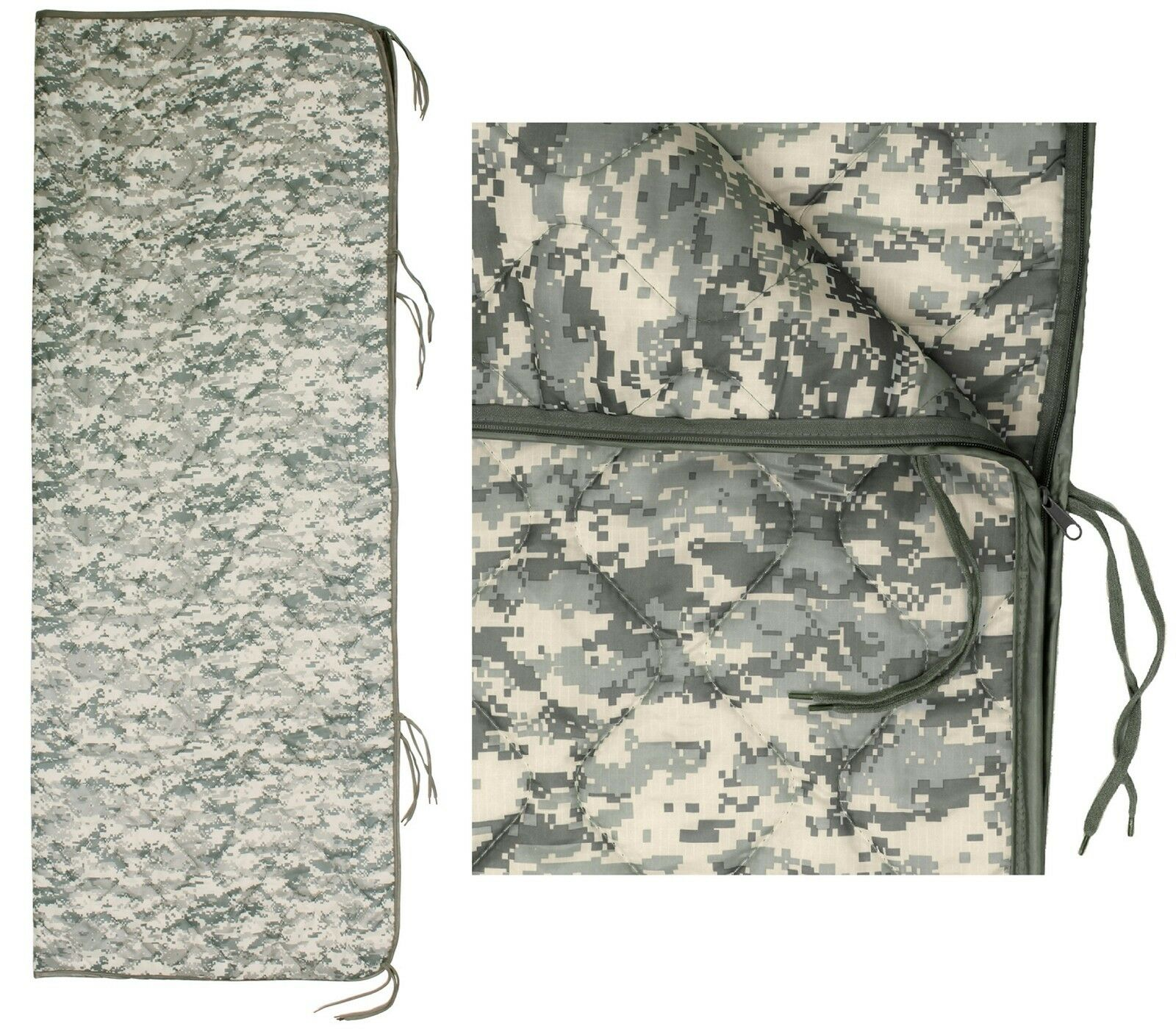 Military Type ACU Digital Camouflage 82  Rip-Stop Poncho Liner w  Zipper & Ties