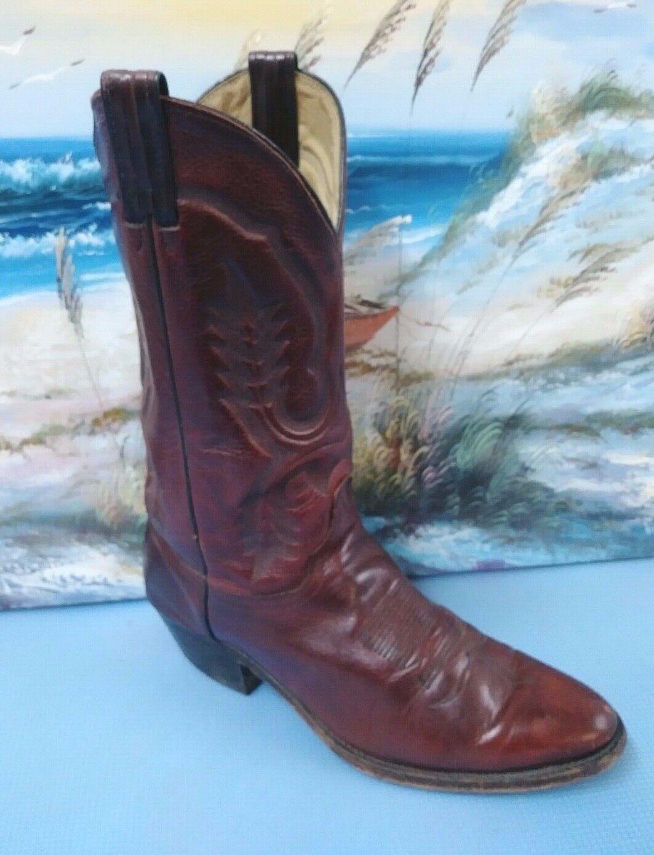 Vintage mens burgundy leather cowboy Stiefel 6751  Größe 9 D