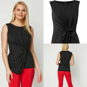Roman-Originals-Womens-Black-Twist-Front-Stretch-Sleeveless-Top-Occasion-Party