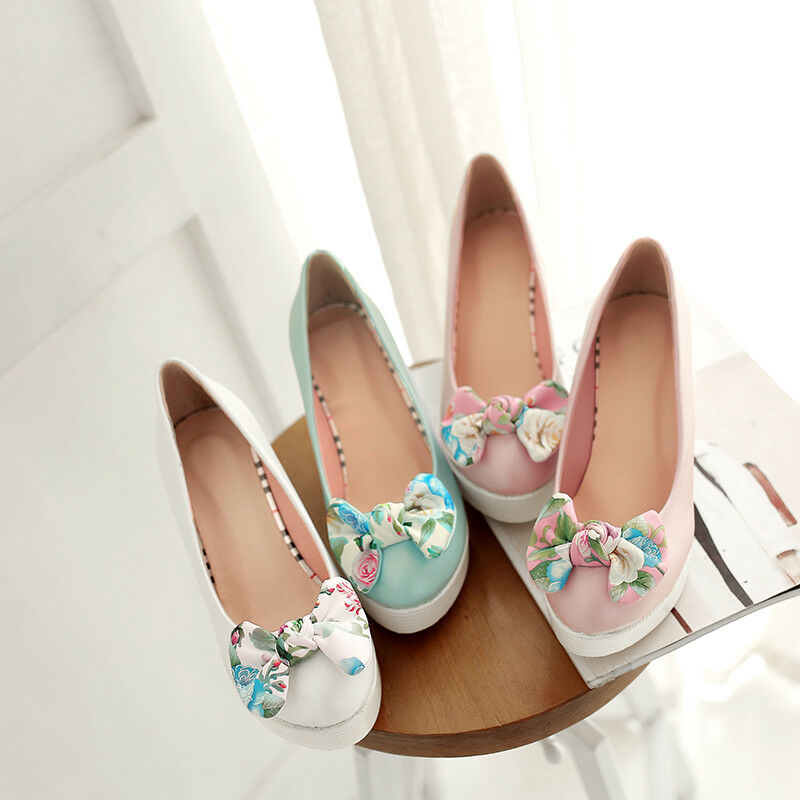 Women Bow Wedge High High High Heel Pumps Slip On Platform Candy color shoes EUR 35-42 1d68e0