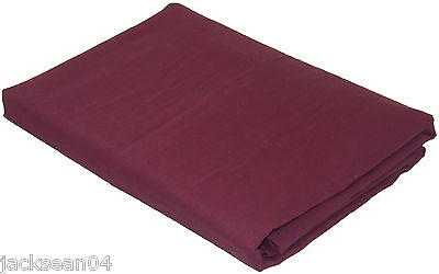 DOUBLE BED LINEN AUBERGINE QUALITY 76/68 PICK COTTON FITTED SHEET
