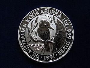 Australia-1991-1-oz-Silver-Kookaburra-BU