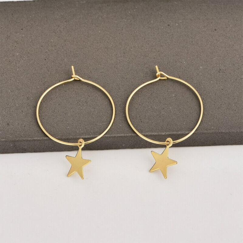 Star Hoop Earrings In Silver Or Gold, Gift For Teenage Girls, Festival