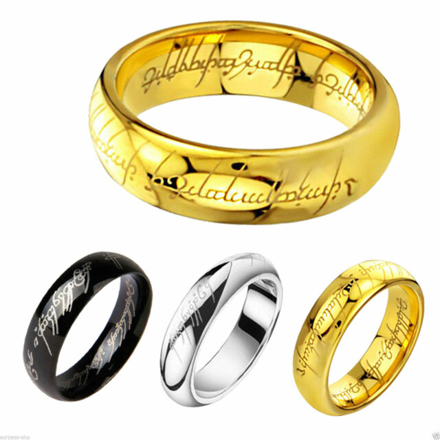 NEW Hobbit Lord of the Rings Gold Silver Black Stainless Steel Rune Ring Band
