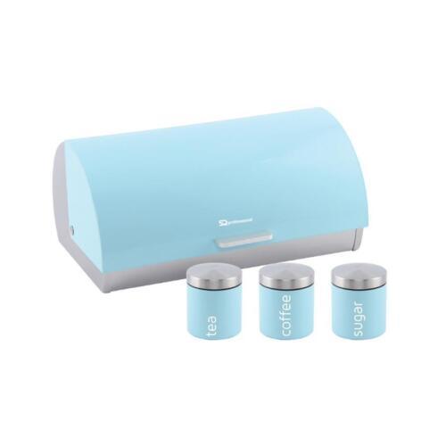 Bleu clair Huche à pain ouverture coulissante avec Café Thé et Sucre Boîtes Set S//Acier SB