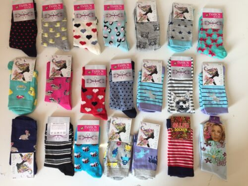 60 pairs luxury women/'s ladies design coloured socks cotton UK size 4-6 CMCNDMS