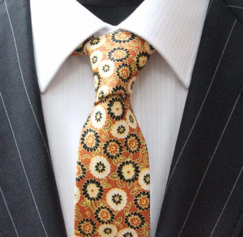 Tie Neck tie Slim Brown White /& Black Floral Quality Cotton T6017